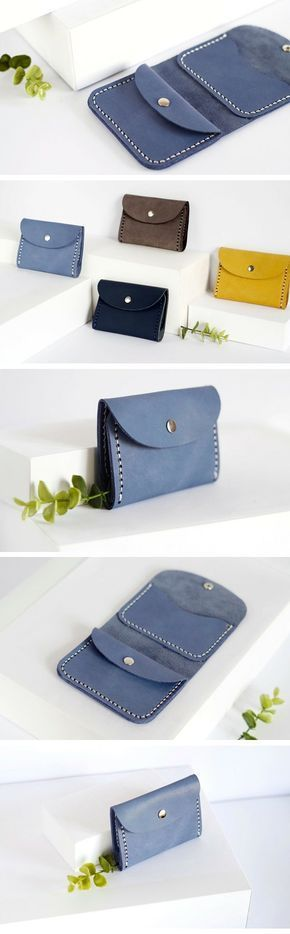 Pale blue leather wallet Unisex wallet Small mens wallet for men Wallet for women Credit cards holder Coins wallet Coins pocket Mini wallet