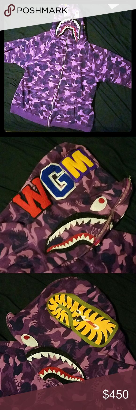 Bathing Ape shark full zip hoodie purple fire camo Bape purple fire camo hoodie. Limited edition . Slightly used but in near mint condition. Comment if you are trying to make an offer. bathing ape Jackets & Coats
