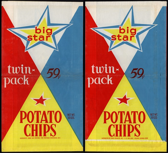 Cobis Products - Big Star - Potato Chips - Twin Pack - 59-cent snack package bag - late 60's early 70's by JasonLiebig, via Flickr