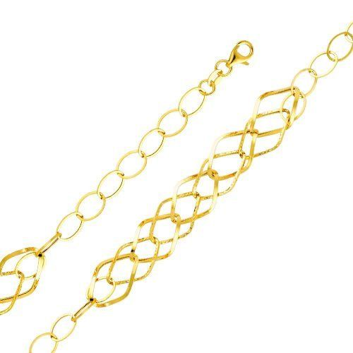 "14K Yellow Gold Fashion Link Bracelet with Lobster Claw Clasp - 8"" Inches Goldenmine. $152.00. Carefully designed and selected for the year 2012. This item showcases a brilliant high polish finish for added sparkle and pop. Imported from Italy...Our 14K Gold Designer Bracelets are an excellent way to add style and beauty to your wardrobe. Simply Elegant.... This bracelet can support charm attachments for added uniqueness and individuality. Save 58% Off!"