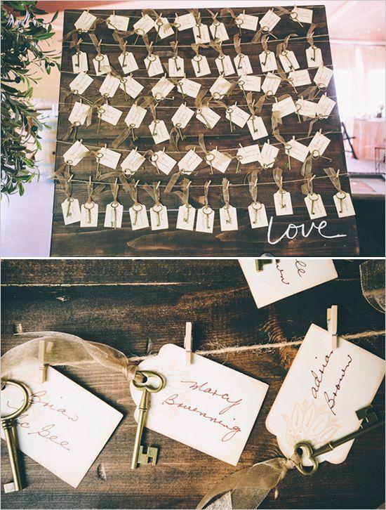 vintage key place cards | escort card board | rustic details | budget friendly wedding | #weddingchicks