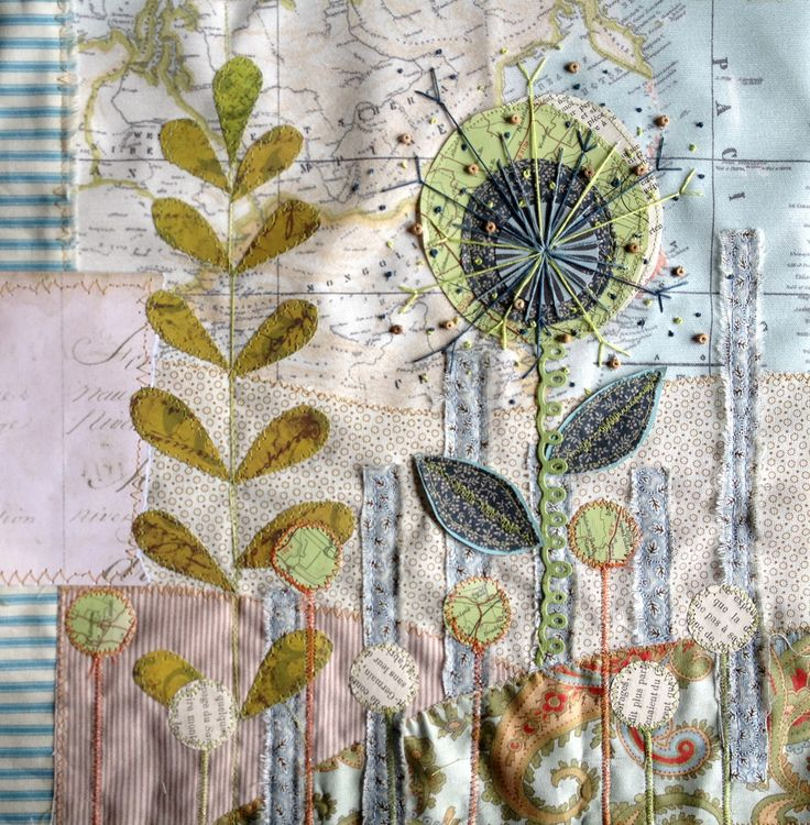 mixed-media collage - inspiration. Love the vertical writing, that mimics the vertical plants!