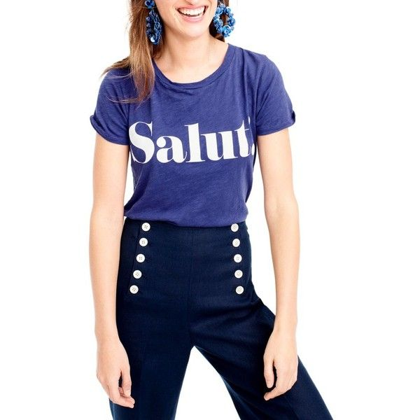 Women's J.crew Salut Tee ($33) ❤ liked on Polyvore featuring tops, t-shirts, astor blue, blue tee, j crew tees, j crew t shirts, blue t shirt and blue top