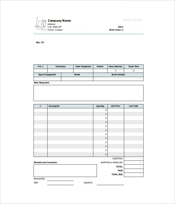 Work Order Template Templates Words Templates Free Download