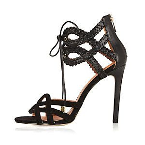 Black whipstitch lace up strappy sandals