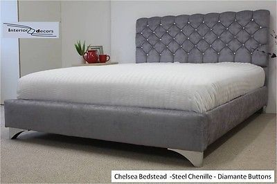Chelsea Upholstered Chenille Bed Frame All Colours & Sizes Diamante Made in UK[Double 4ft6 (137cm),Grey Chenille,Matchin