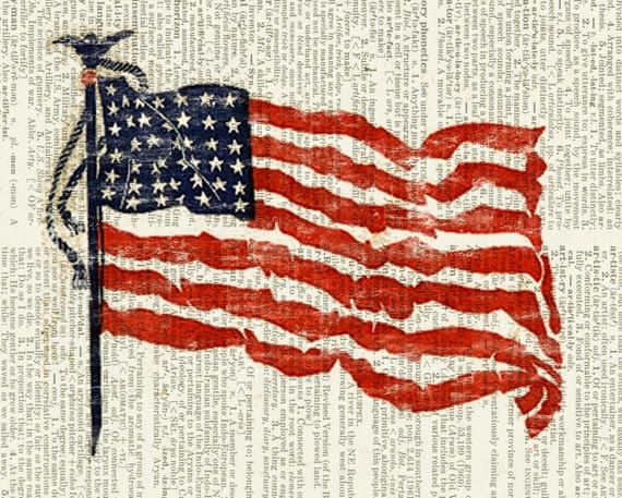 American Flag printed on page from vintage dictionary by FauxKiss, $10.00