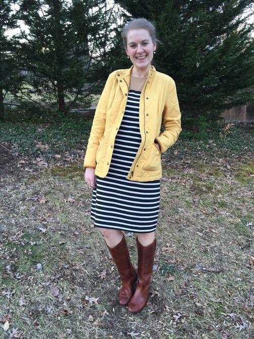 Orvis jacket + Lands' End dress + Frye boots