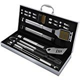 #5: BBQ Grill Tools Set with 16 Barbecue Accessories - Stainless Steel Utensils with Aluminium Case- Men Complete Outdoor Grilling Kit for Dad