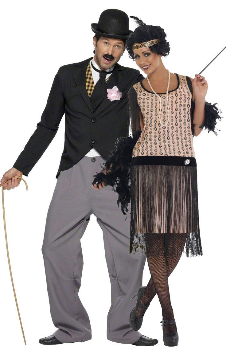 Déguisement de couple charleston  : Déguisement années 20 charleston homme Déguisement années 20 pour homme qui se compose d'un pantalon avec un haut qui ne font qu'un et d'une veste....