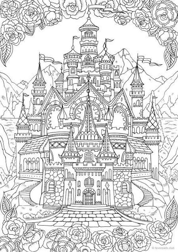 Castle Printable Adult Coloring Page From Favoreads