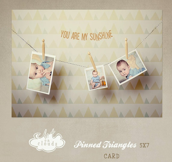 Pinned Triangles card templte C009 by ArtonClouds on Etsy, $8.00
