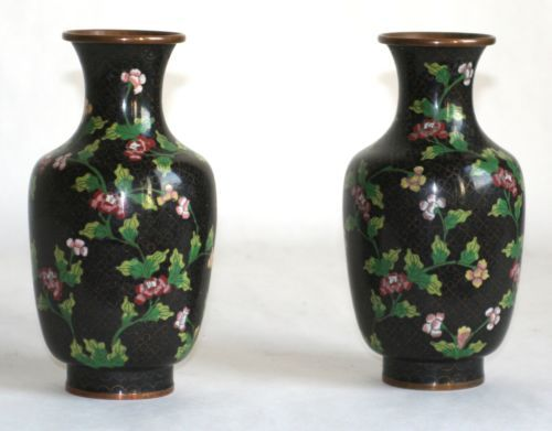 PAIR-OF-CLOISONNE-VASES-BLACK-BROWN-BACKGROUND-PINK-FLOWERS-MADE-IN-CHINA
