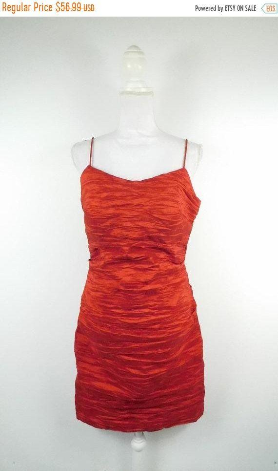 5a2354eddb69b 40% OFF VDAY SALE Vintage Alex Evenings Red Crinkle Elegant Prom Tank Top  Sleeveless Knee Spaghetti Strap Dress Gown Sz 12 Large Petite by  WearingMeOutVtg ...