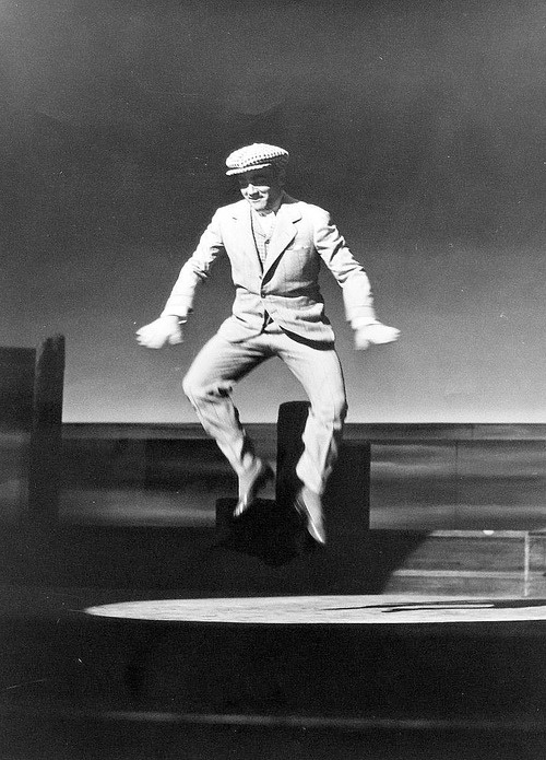 James Cagney captured practicing a dance on the set of 'Yankee Doodle Dandy' by Madison Lacy, 1942.