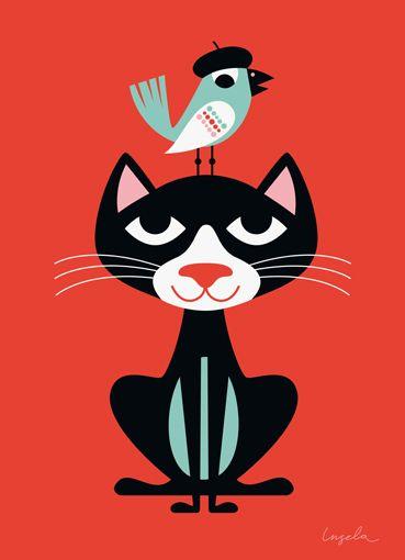 {Art} Black Cat, French Blue Bird by Ingela P Arrhenius #art #poster #illustration