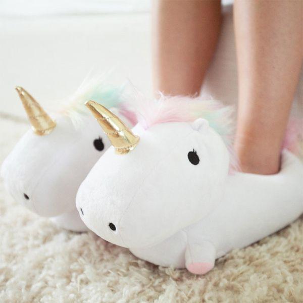 Counter Genuine Enchanting Ladies Girls Childrens/Kids Novelty Plush Velour 3D Unicorn Slipper wit