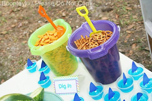 Birthday party snack bucket