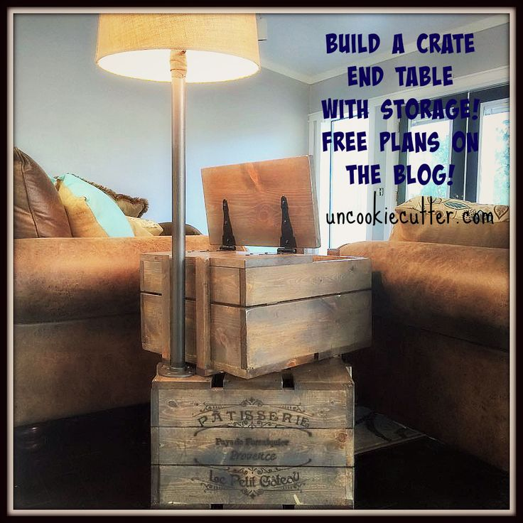 Build a crate end table with storage and built in lamp!  Free plans on the blog!