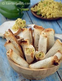 A few merry twists make this bread roll quite different from the usual recipes! Watch how the much-loved combination of Maggi noodles, cheese and veggies makes its way into crispy bread rolls, resulting in a toothsome snack, which you will literally enjoy – to the core! Serve the Cheesy Maggi Bread Rolls hot and fresh with tomato ketchup.