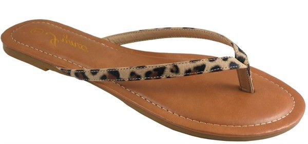 Simply cute! You will love the look of these animal print flip flops. Fits true to size.