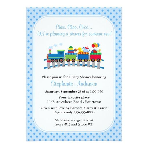 blue toy train baby shower card