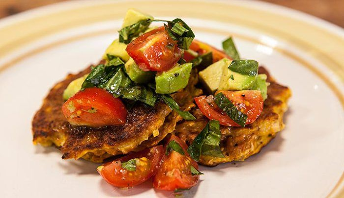 Sweet Potato Fritters with Avocado Salsa - Good Chef Bad Chef