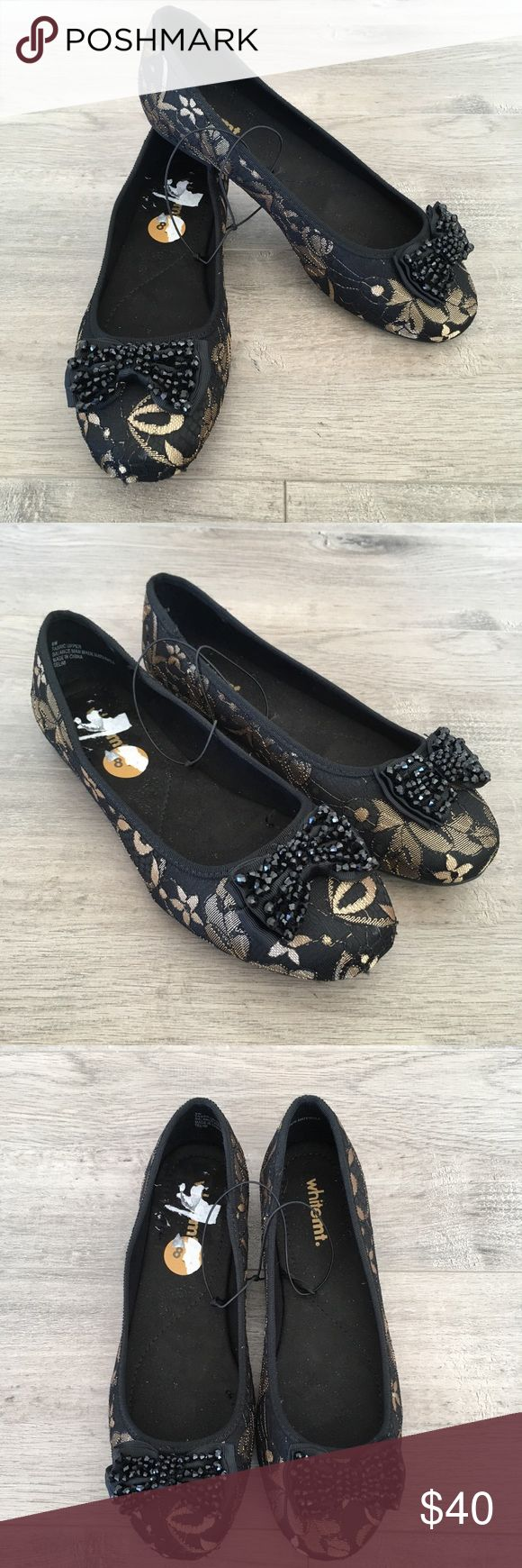 WHITE MT. ~ black & gold floral lace ballet flat WHITE MOUNTAIN ~   White mountain brand  Black & gold ballet flat  Black & gold lace flats  Front toe bow  Embellished bow Size 8 w Made in China  No box  New with tags white mt Shoes Flats & Loafers