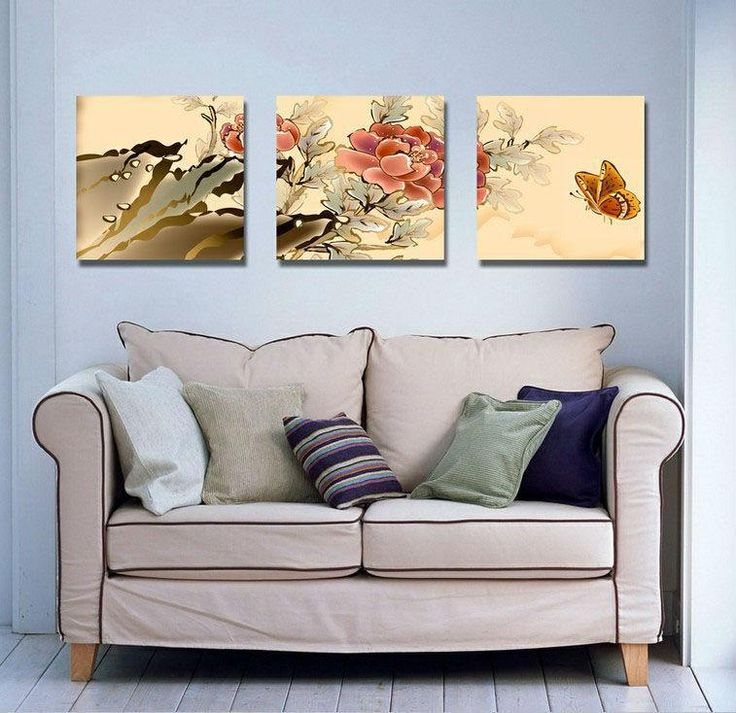 Free Shipping 3016 Piecebuy Wholesale Plum Blossom Bird 3Panels Modern Oil Painting