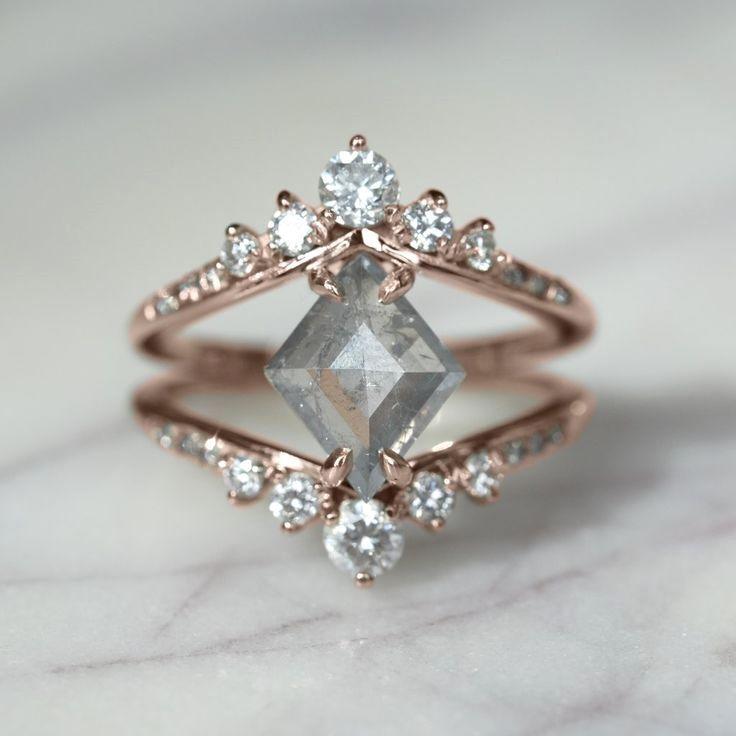 1.57 Carat Translucent Grey Diamond Engagement Ring, Duchess Setting, 14k rose gold