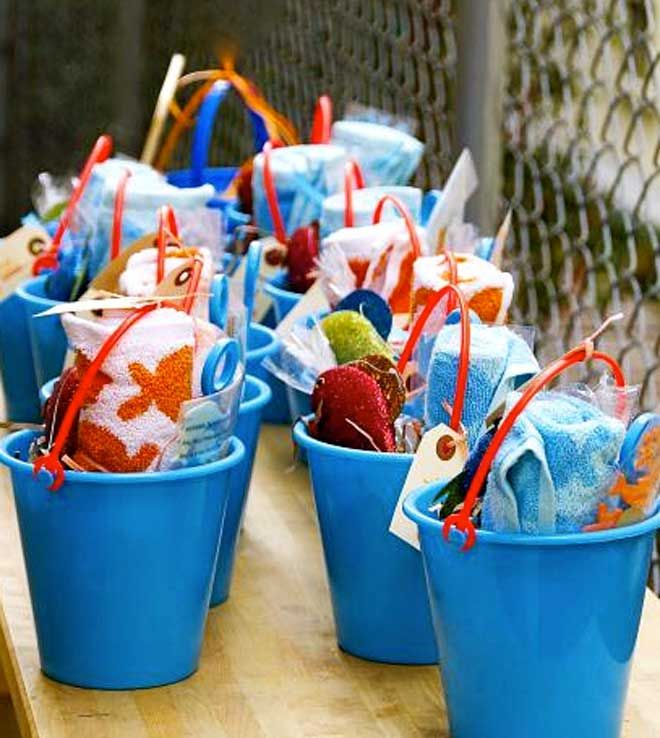 under the sea birthday party, party buckets instead of party bags!!! Love it!