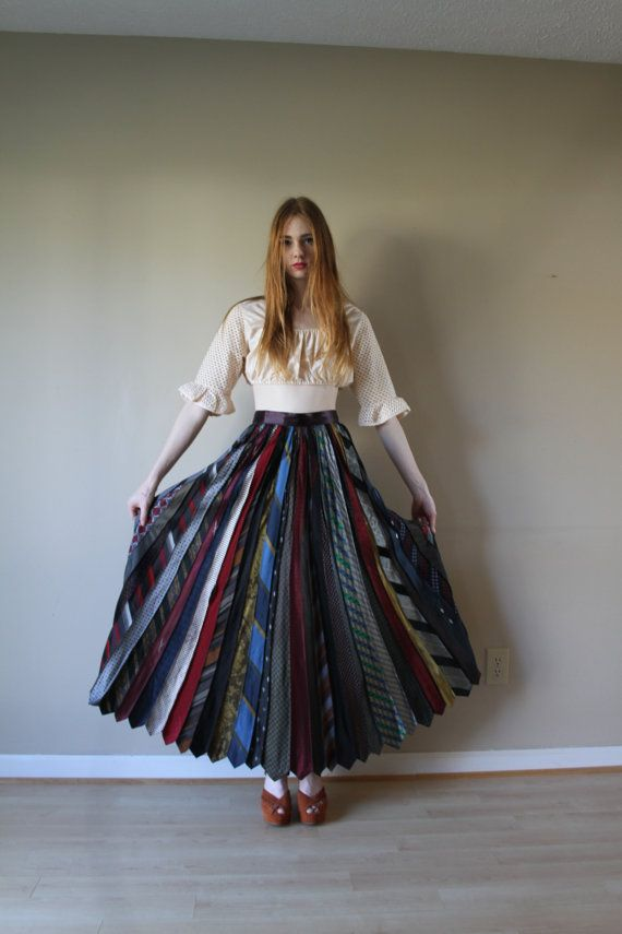 80s Maxi Skirt Made of Mens Neck Ties Pleated by closetcaseVNTG, $146.00
