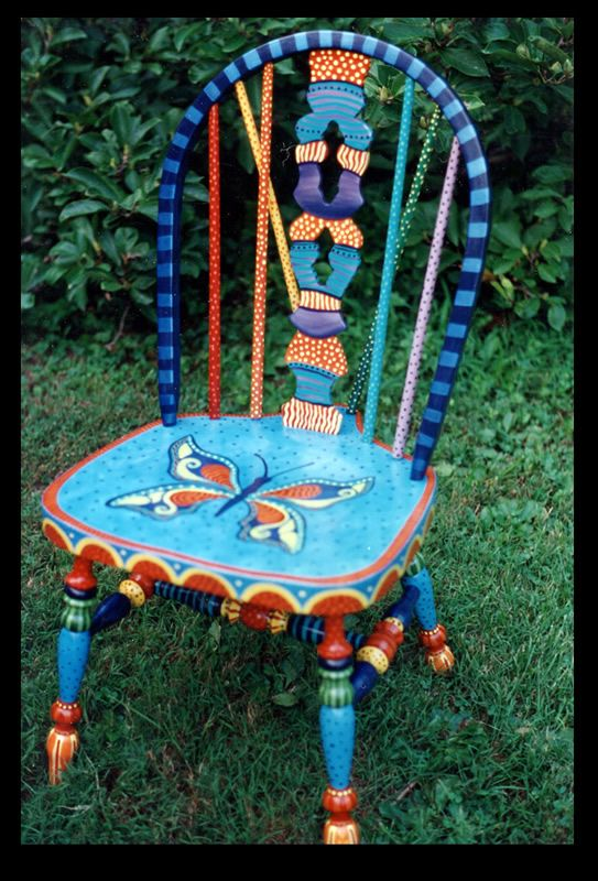 hand painted chair/ fun for kids. Paint their own chair.