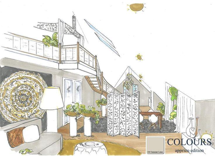 Gestaltung im Dachgeschoß mit den apprico COLOURS nach Feng-Shui-Kriterien. Summer Lime ist die No. 204 meiner Farbkarte.  Mehr Infos zum Farbton: http://apprico.de/apprico-cololurs-element-erde-summer-lime/  #appricoCOLOURS #summerlime #farbgestaltung #fengshui