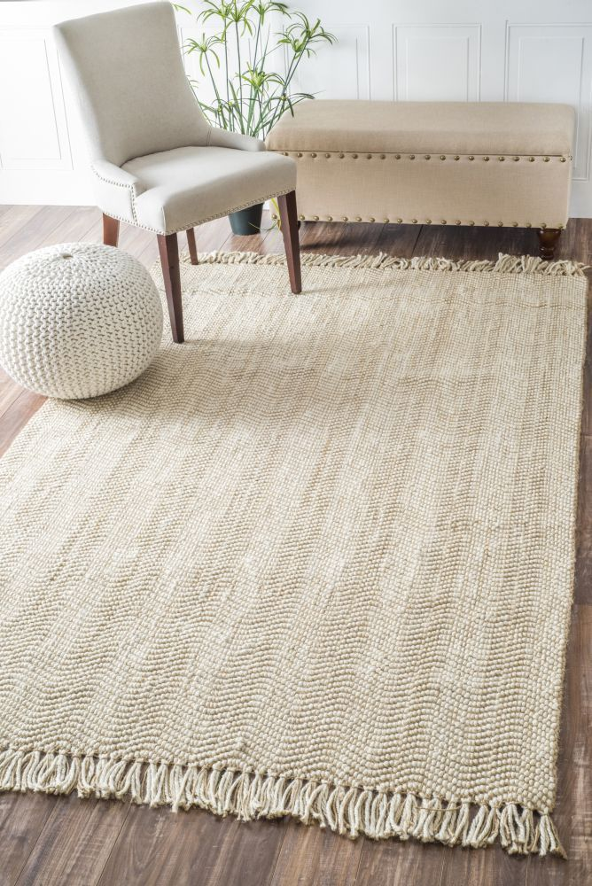 Mauijute Wavy Chevron With Tassel Rug Soft Light And