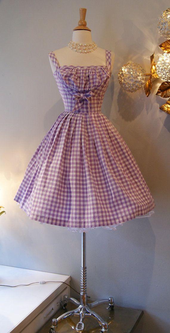 50s Dress // Vintage 1950s So Cute Gingham Dress via Etsy