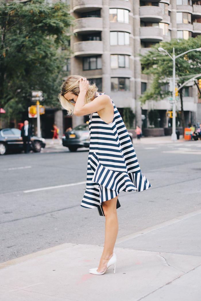 Striped Dress at NYFW SS15 | Damsel in Dior