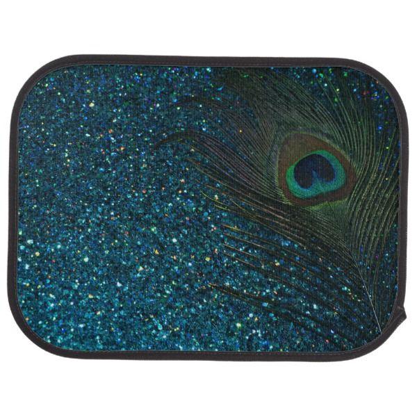 Glittery Aqua Peacock Feather Car Floor Mat Carmats Caraccessories