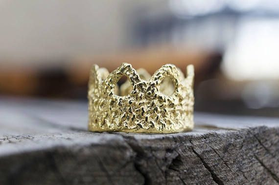 Gold Crown Ring, Lace Ring, Dainty Jewelry, Valentines, Stocking Stuffer, Princess Crown Ring, Romantic Jewelry, Statement Ring