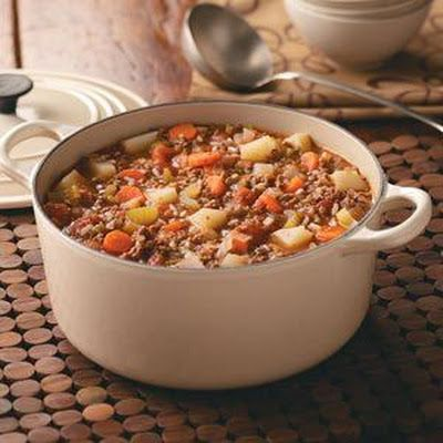 HAMBURGER STEW-- this will be good for fall, minus the carrots. Corn Bread on the side. Substitute Stewed tomatoes for Diced Tomatoes with Zesty Mild Green Chilies.