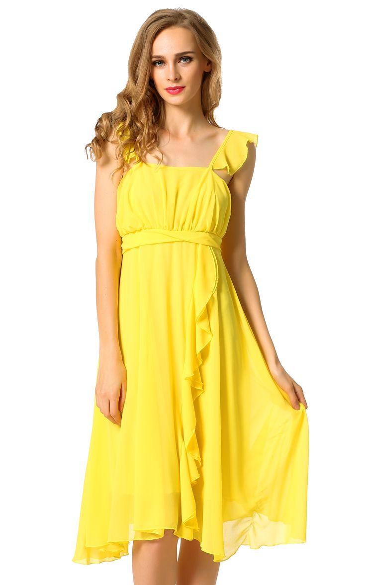 ACEVOG Yellow On Clearance New Stylish Lady Women Fashion Spaghetti Strap Sexy Slim Chiffon Going Out Casual Dresses dresslink.com