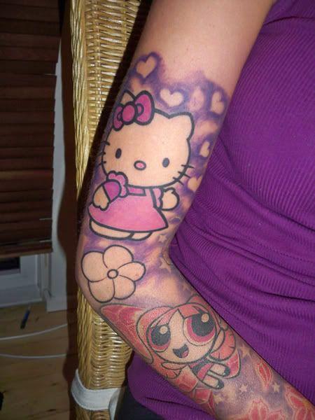 Hello Kitty tattoo.Tattoo Ideas, Powerpuff Girls, Sleeve Tattoo, Girls Tattoo, Hello Kitty Tattoo, Kitty Tattoos, Tattoo Design, Hellokitty, Arm Tattoo