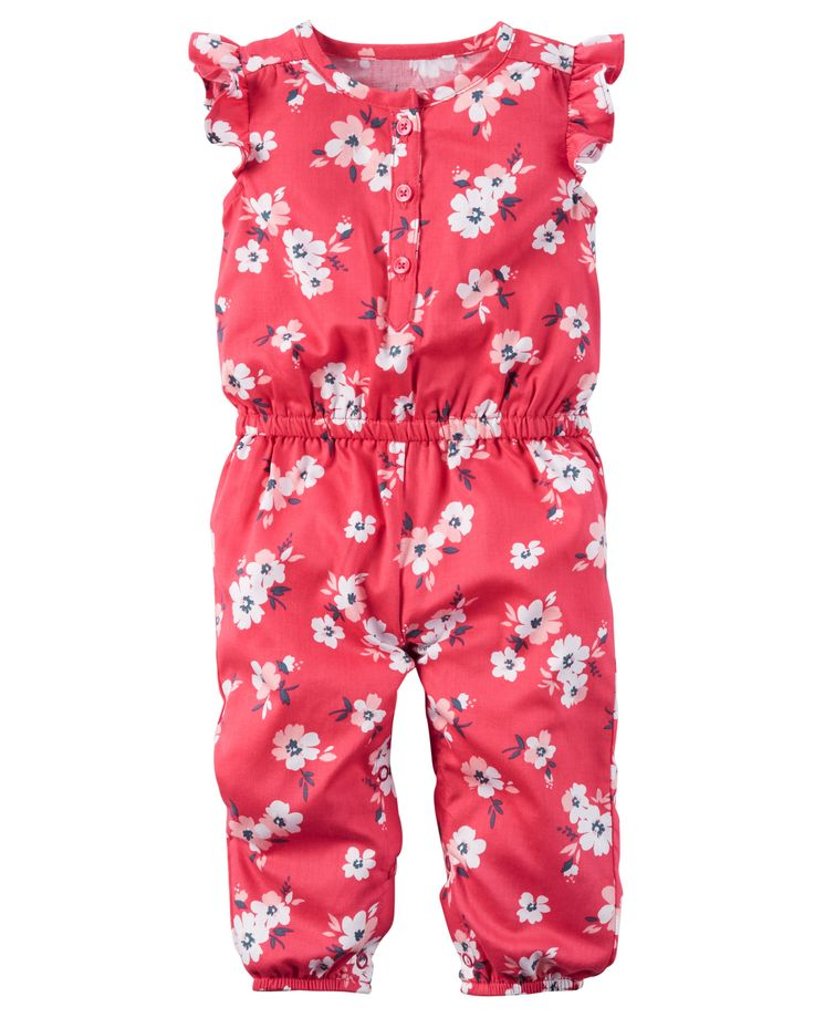 Baby Girl Floral Flutter-Sleeve Jumpsuit from Carters.com. Shop clothing & accessories from a trusted name in kids, toddlers, and baby clothes.
