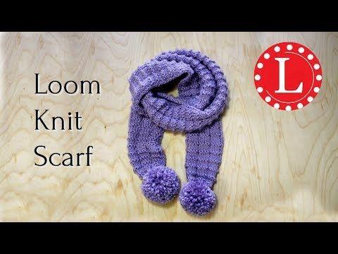 LOOM KNIT SCARF on Round Loom, Waffle Stitch Pom Pom Scarf |Loomahat. How to Loo…
