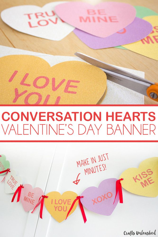 This DIY Valentine conversation heart banner is printed on glitter paper that adds an extra special sparkling touch to your decor.