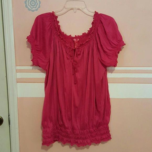 Beautiful hot pink top Hot pink short sleeve top w/elastic waist band  and drawstring front Tops