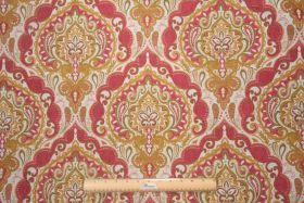 Possible for a pillow in living room Fabric by the Yard :: Hamilton Prussia Tapestry Upholstery Fabric in Coral $28.95 per yard - Fabric Guru.com: Fabric, Discount Fabric, Uphol...