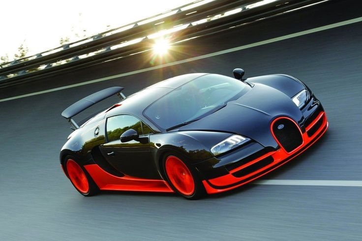 Bugatti Veyron Super Sport: 267 mph, 0-60 in 2.4 secs. Aluminum, Narrow Angle 8 Liter W16 Engine with 1200 hp, base price is $2,400,000.