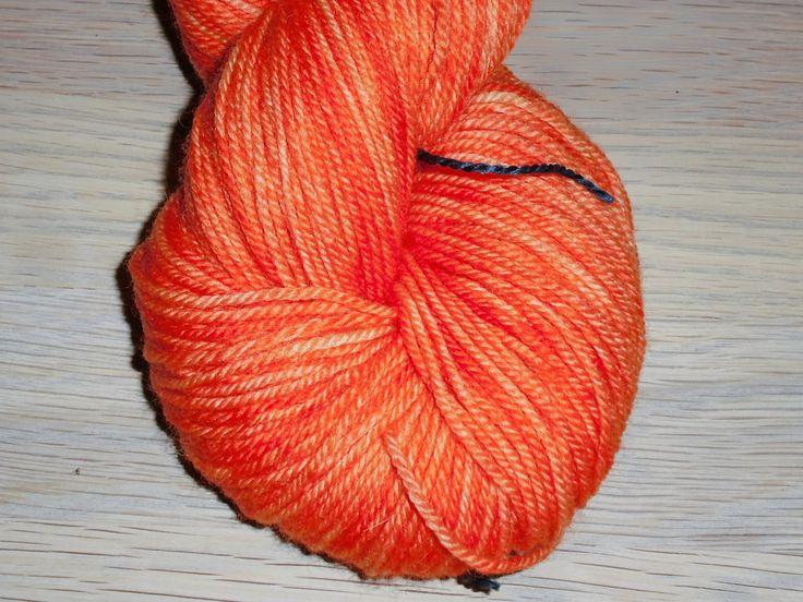 Orange Superwash Merino Yarn - Orange Hand Dyed Yarn - DK Weight Merino Yarn - Orange Double Knit 3 Ply Yarn - Orange Hand Dyed DK Weight