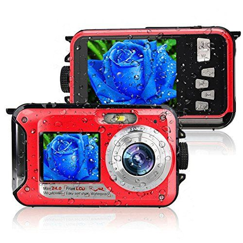 Waterproof Camera Full HD 1080p Underwater 10FT 24.0MP Video Camera Dual LCD Screens For Selfie 16X Digital Zoom  Estimated delivery date is around 12-20 days by ePacket when order is fulfilled by YISENCE. Not 20-45 days shown on the system. It is a point and shoot underwater camera. It shoots up to 24MP and video quality is up to FHD. Bright color of this camera. It is not the normal black. The design is very beautiful and fashionable. It is easy to carry and it is compact. You can ke...
